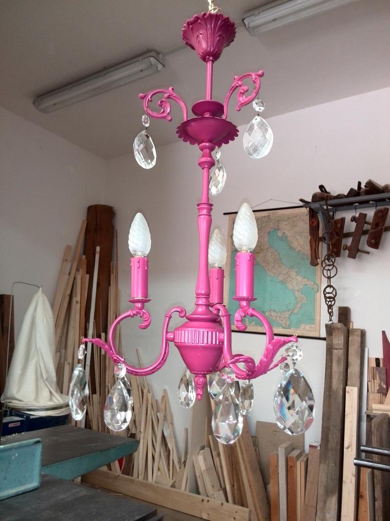 Lampadario ottone e gocce vetro Ferretti Restauro